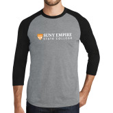 Grey/Black Tri Blend Baseball Raglan-Primary Logo Flat