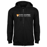 Black Fleece Full Zip Hoodie-Primary Logo Flat
