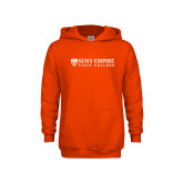 Youth Orange Fleece Hoodie-Primary Logo Flat