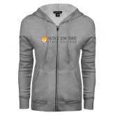 ENZA Ladies Grey Fleece Full Zip Hoodie-Primary Logo Flat