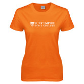 Ladies Orange T Shirt-Primary Logo Flat