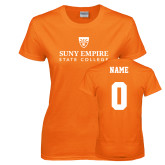 Ladies Orange T Shirt-Primary Logo, Custom Tee w/ Name and #