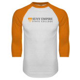 White/Orange Raglan Baseball T Shirt-Primary Logo Flat
