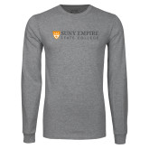 Grey Long Sleeve T Shirt-Primary Logo Flat