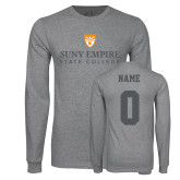 Grey Long Sleeve T Shirt-Primary Logo, Custom Tee w/ Name and #