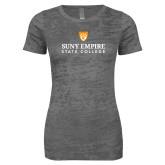 Next Level Ladies Junior Fit Dark Grey Burnout Tee-Primary Logo