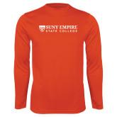 Syntrel Performance Orange Longsleeve Shirt-Primary Logo Flat