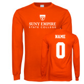 Orange Long Sleeve T Shirt-Primary Logo, Custom Tee w/ Name and #