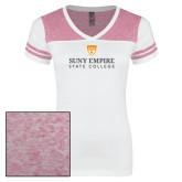 Ladies White/Heathered Pink Juniors Varsity V Neck Tee-Primary Logo