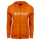ENZA Ladies Orange Fleece Full Zip Hoodie-Primary Logo Flat