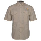 Khaki Short Sleeve Performance Fishing Shirt-Primary Logo