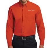 Orange Twill Button Down Long Sleeve-Primary Logo Flat