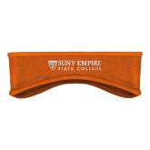 Orange Stretch Fleece Headband-Primary Logo Flat