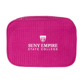Large Hot Pink Waffle Cosmetic Bag-Primary Logo