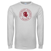 White Long Sleeve T Shirt-Distressed Seal