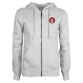 ENZA Ladies White Fleece Full Zip Hoodie-Tower Logo