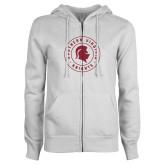 ENZA Ladies White Fleece Full Zip Hoodie-Knights Seal