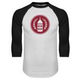 White/Black Raglan Baseball T Shirt-Tower Logo