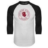 White/Black Raglan Baseball T Shirt-Knights Seal