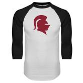 White/Black Raglan Baseball T Shirt-Knight Head