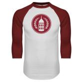 White/Cardinal Raglan Baseball T Shirt-Tower Logo
