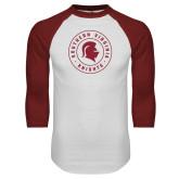 White/Cardinal Raglan Baseball T Shirt-Knights Seal