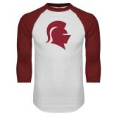 White/Cardinal Raglan Baseball T Shirt-Knight Head