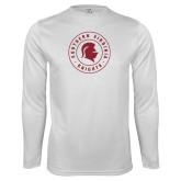 Performance White Longsleeve Shirt-Knights Seal