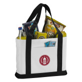 Contender White/Black Canvas Tote-Tower Logo