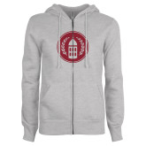ENZA Ladies Grey Fleece Full Zip Hoodie-Tower Logo