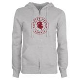 ENZA Ladies Grey Fleece Full Zip Hoodie-Knights Seal