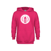 Youth Raspberry Fleece Hoodie-Tower Logo