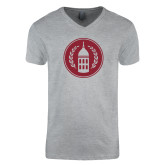 Next Level V Neck Heather Grey T Shirt-Tower Logo