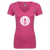 Next Level Ladies Junior Fit Ideal V Pink Tee-Tower Logo
