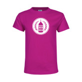 Youth Cyber Pink T Shirt-Tower Logo