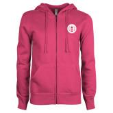 ENZA Ladies Fuchsia Fleece Full Zip Hoodie-Tower Logo