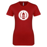 Next Level Ladies SoftStyle Junior Fitted Cardinal Tee-Tower Logo