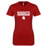 Next Level Ladies SoftStyle Junior Fitted Cardinal Tee-Knights Football
