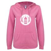 ENZA Ladies Hot Pink V Notch Raw Edge Fleece Hoodie-Tower Logo
