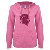 ENZA Ladies Hot Pink V Notch Raw Edge Fleece Hoodie-Knight Head Glitter Hot Pink Glitter