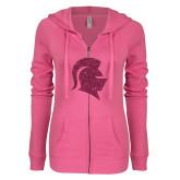ENZA Ladies Hot Pink Light Weight Fleece Full Zip Hoodie-Knight Head Glitter Hot Pink Glitter