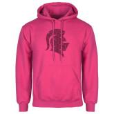 Fuchsia Fleece Hoodie-Knight Head Glitter Hot Pink Glitter
