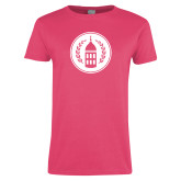 Ladies Fuchsia T Shirt-Tower Logo