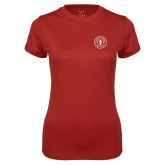 Ladies Syntrel Performance Cardinal Tee-Primary Mark