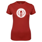 Ladies Syntrel Performance Cardinal Tee-Tower Logo
