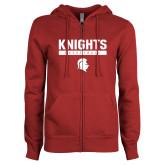 ENZA Ladies Cardinal Fleece Full Zip Hoodie-Knights Basketball