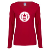Ladies Cardinal Long Sleeve V Neck Tee-Tower Logo