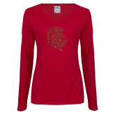 Ladies Cardinal Long Sleeve V Neck Tee-Knight Head Glitter Red Glitter