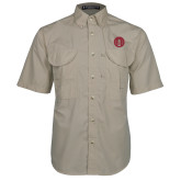 Khaki Short Sleeve Performance Fishing Shirt-Tower Logo