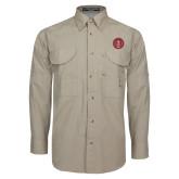 Khaki Long Sleeve Performance Fishing Shirt-Tower Logo